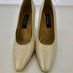 Stuart Weitzman Pearl White Heels Sz 8M